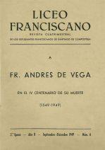 Fr. Andrés de Vega en el cuarto centenario de su muerte (1549-1949)