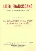 La Restauración de la Orden Franciscana en España (1836-1856)